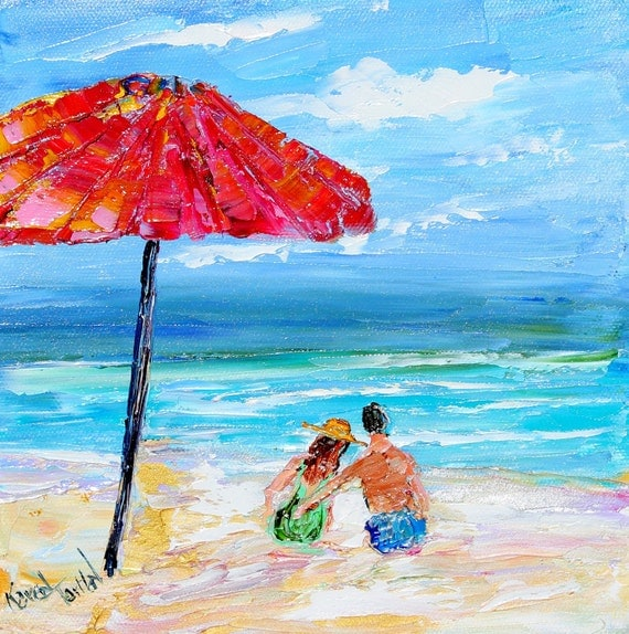 SALE - Original oil painting Beach Couple palette knife fine art modern impressionism by Karen Tarlton
