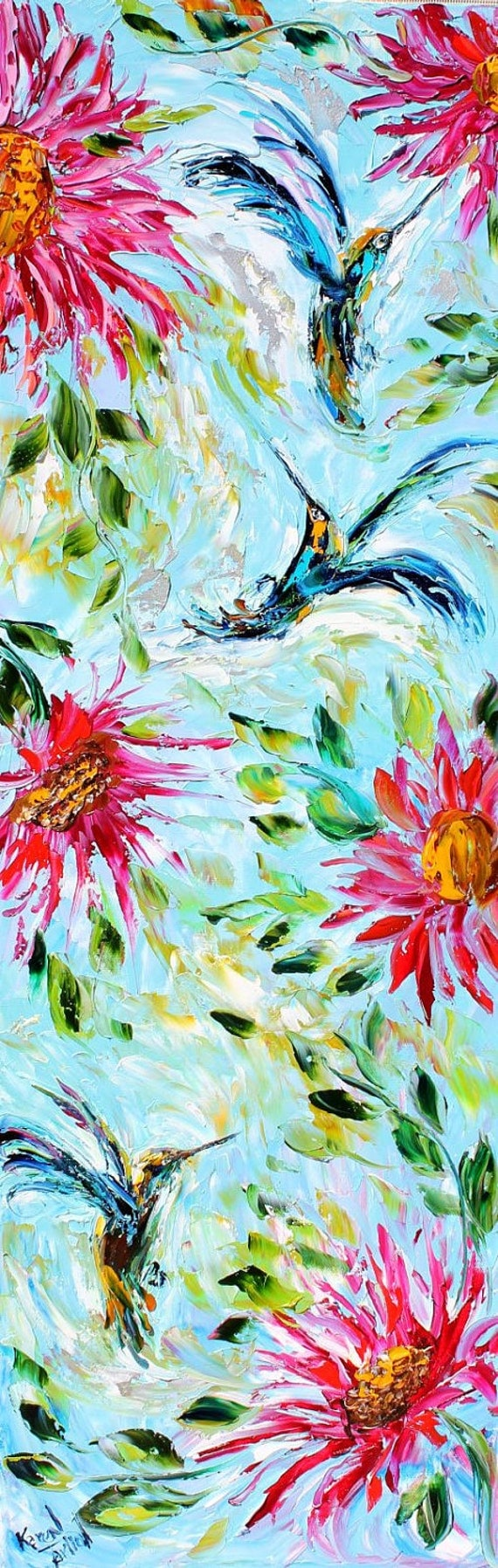 Items similar to Original oil painting Hummingbird Flowers ...