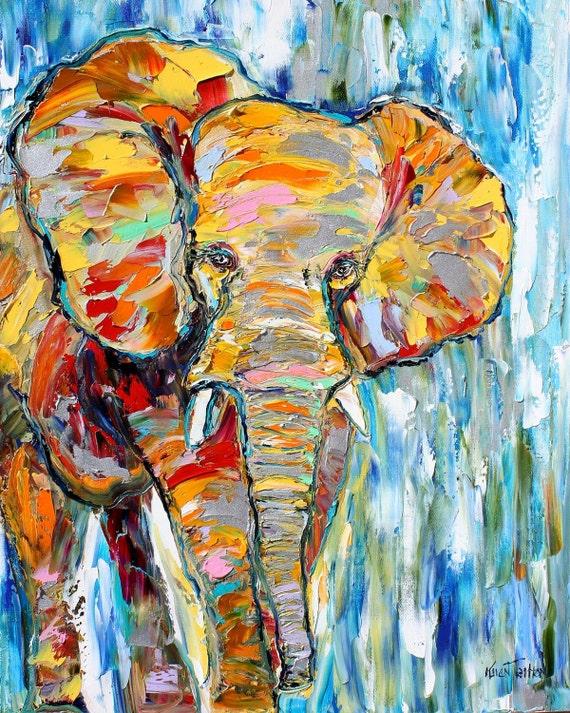 Original oil painting ABSTRAC Elephant Wildlife fine art palette knife impressionism by Karen Tarlton