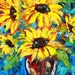 Original Flowers Sunflowers Floral Textured Palette Knife Painting Oil on Canvas Contemporary Modern Art by Karen Tarlton