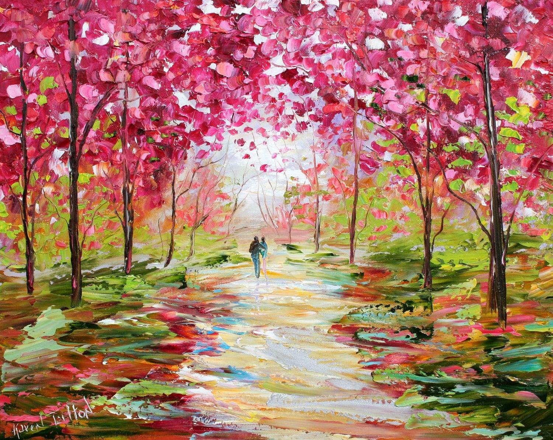 Karen tarlton original oil painting spring romance impasto for Spring canvas paintings