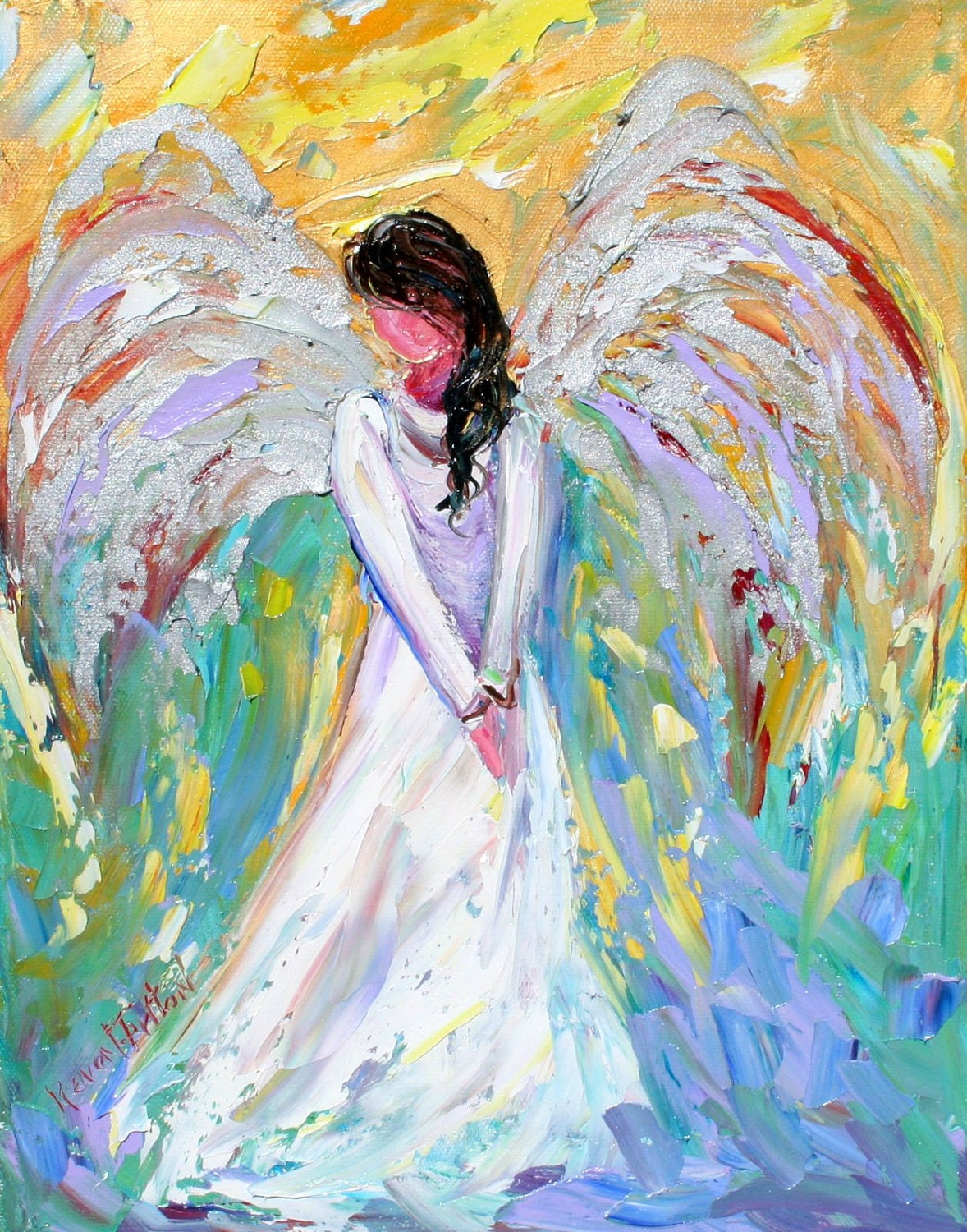 karen tarlton original oil painting angel impasto palette