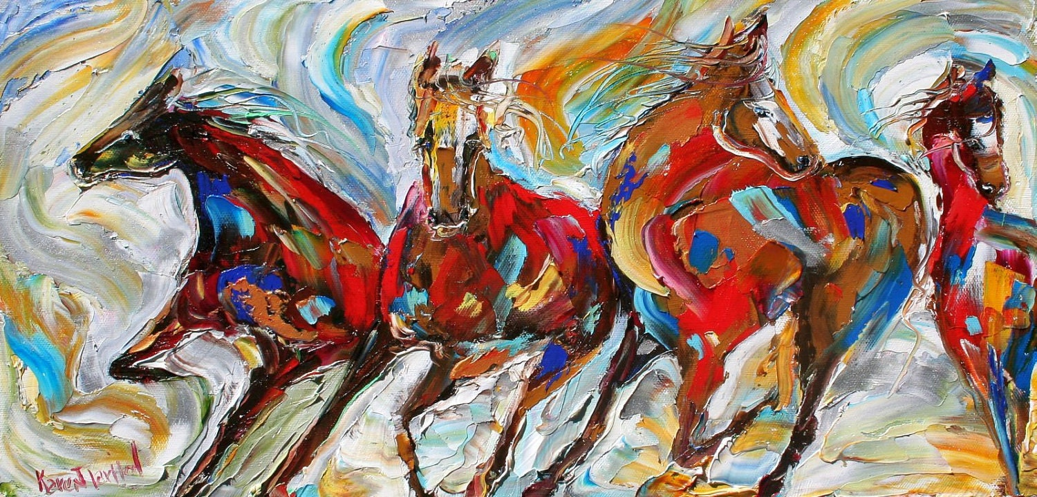 HD Video of Oil Painting Running Horses