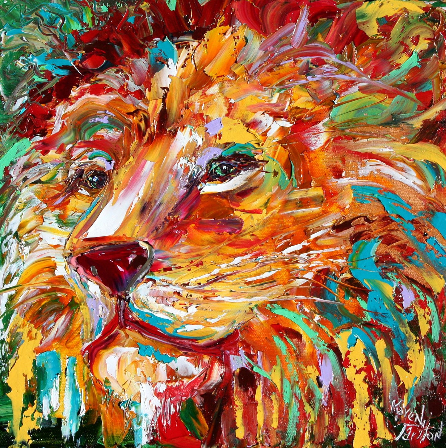 Abstract impressionism lion animal portrait painting original for Animal oil paintings