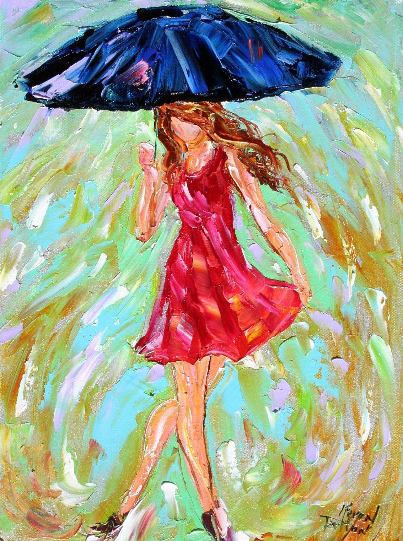 original oil painting rain girl texture by karensfineart