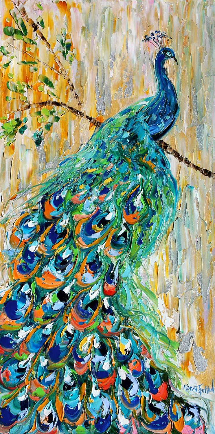 Original oil painting PEACOCK bird decorative palette knife