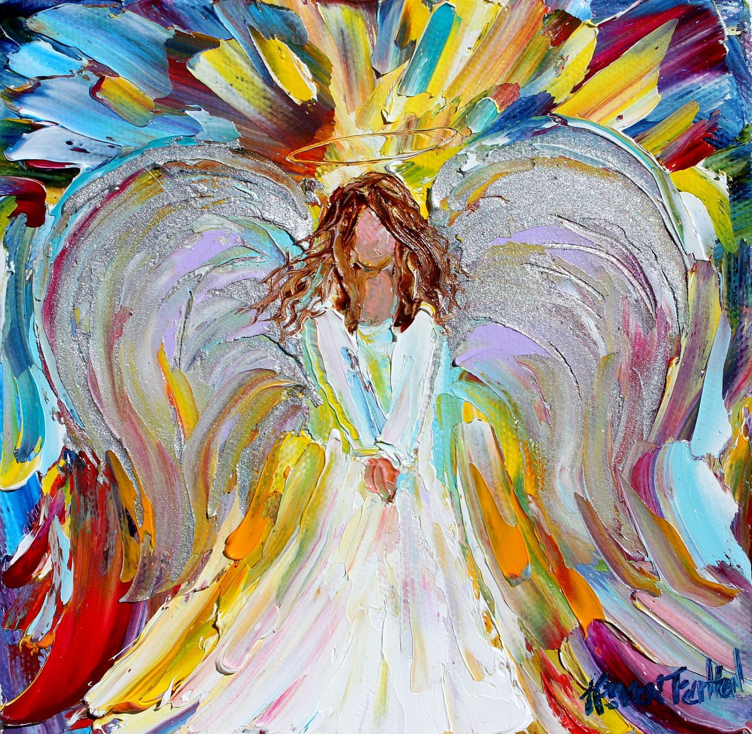 Original oil angel palette knife painting modern by for Angel paintings for sale