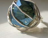 Blue Glass and Silver Ring