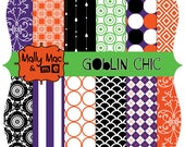 GOBLIN CHIC Halloween 12 pc Digital Paper Pack Set 300 dpi 12 x 12  Digital and Printable Invitations Cards Cupcake wrappers Toppers