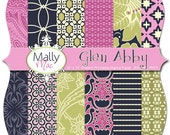 "Glen Abby Mally Mac Digital Paper Set Pack 12"" x 12"" 300 dpi Chevron Damask Printable Scrapbooking Cards Wedding invitations Mally Mac & me"