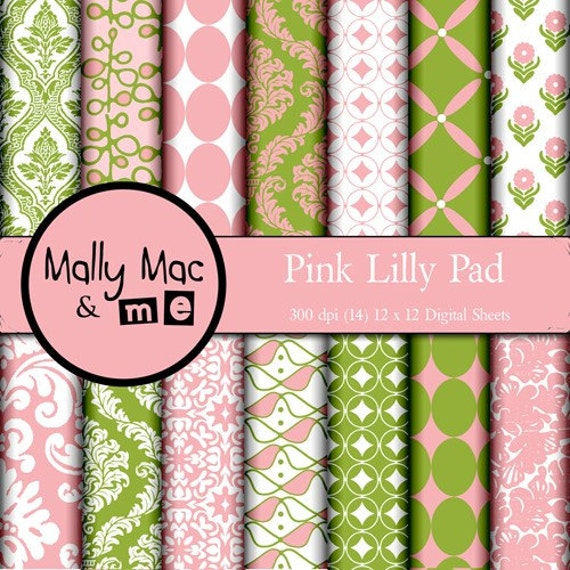 Damask Pink Lilly Pad  14 pc Digital Paper Set Pink Green  Printable some Commercial