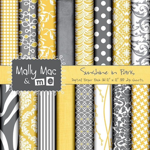 "Sunshine in Paris 16 sheets 12"" x 12"" Digital Paper Set Yellow Gold and Grey Gray Printable Cards Save the DATE"