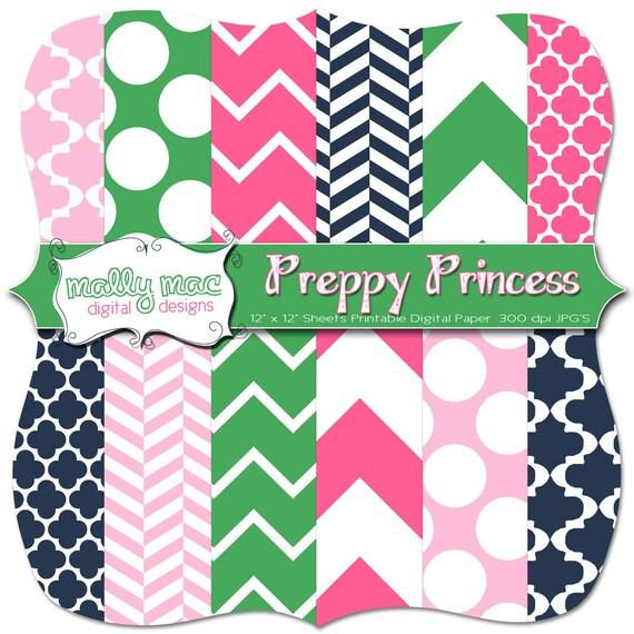 "Preppy Princess Digital Paper Set Pack ( 12 ) 12"" x 12"" 300 dpi Mally Mac Chevron quatrefoil Printable Scrapbooking  Wedding invitations"