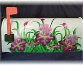 Hand Painted Mailbox-Burgundy Iris