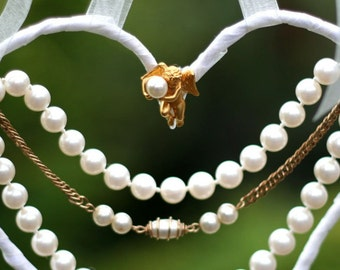 Bridal pearls and cupid heart