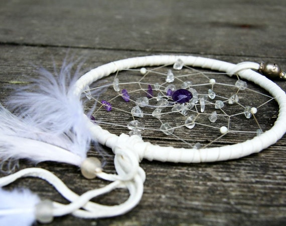 Dreamcatcher - white, crystal and amethyst for Joy