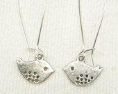 Silver Tone Bird Earrings