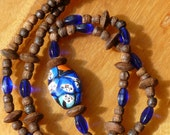 24 inch Vintage African Trade Bead Necklace, Millefiori Face Bead and Cobalt Blue Czech Beads