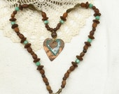 Vintage Copper Heart Pendant and Rustic African Trade Bead Necklace