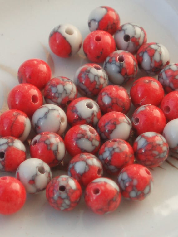 Red and White Speckled Howlite Beads (34)