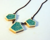 Geometric Glass Turquoise Faceted Gem Porcelain Necklace