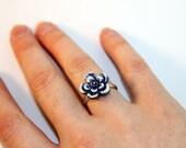 Cobalt Blue Porcelain Adjustable Ring