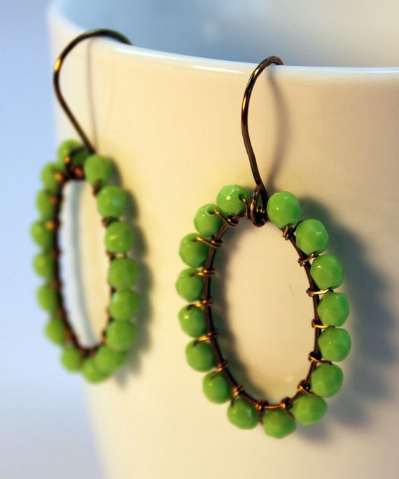 Lime Green Earrings Wire Wrapped
