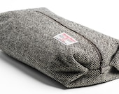 Gents Large Harris Tweed Washbag Charcoal Herringbone