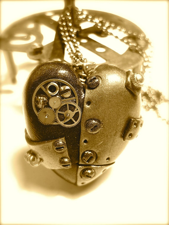 Steampunk Tinker Heart Pendant, Necklace