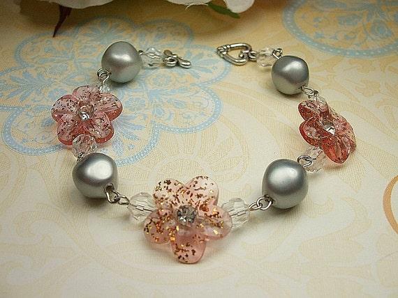Vintage inspired pink button bracelet