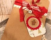 Handmade Christmas Gift bag with Reindeer Gift Tag set of 4