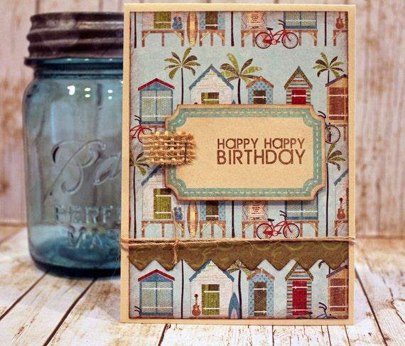 Birthday Card Handmade Beach Theme