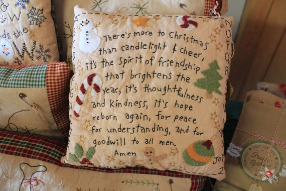 Primitive Christmas Pillow Home Decor Folk Art Country Rustic
