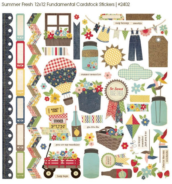 Simple Stories 12 x 12 Scrapbooking Fundamentals Stickers Summer Fresh Collection Save 15%