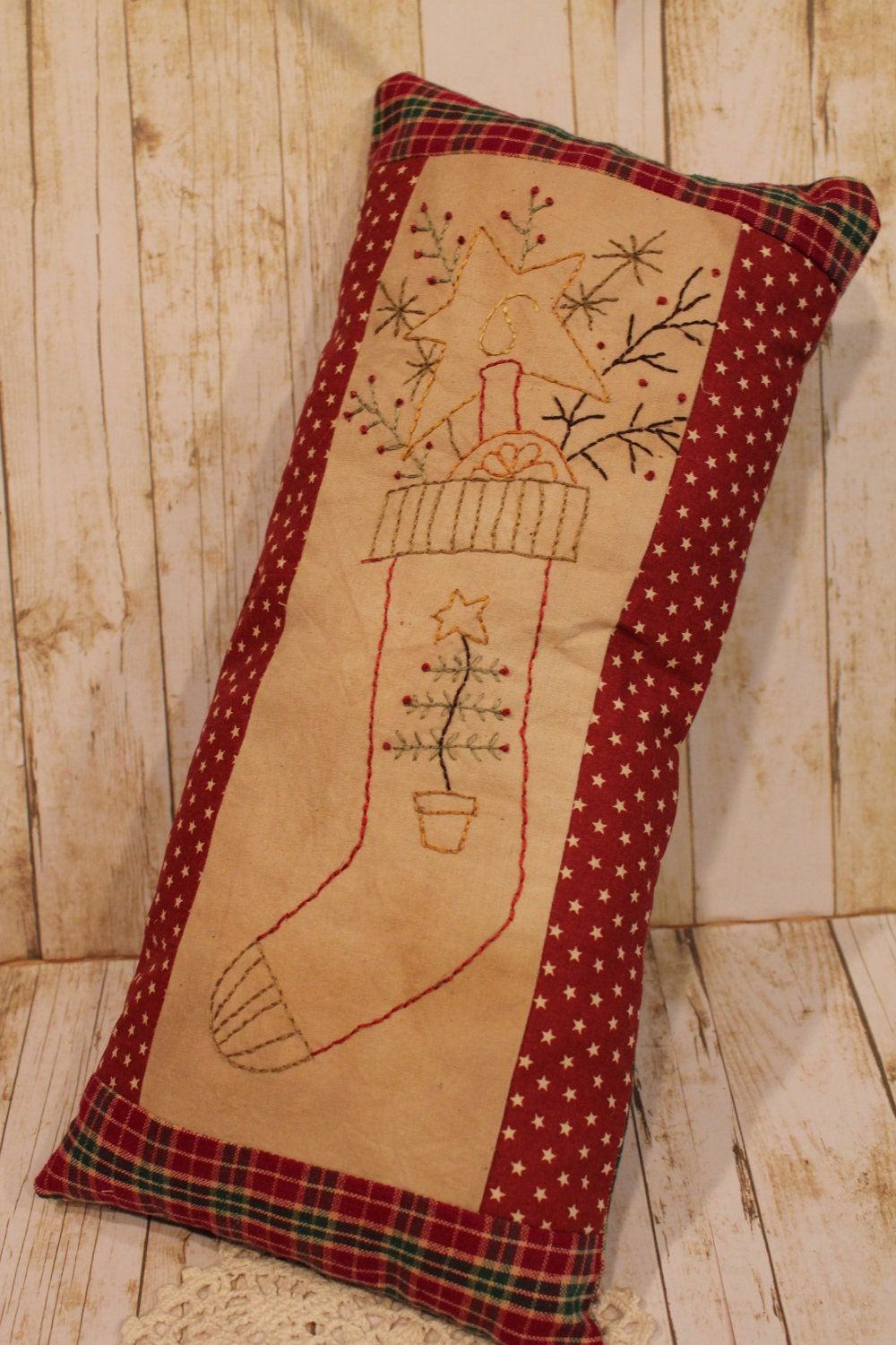 Primitive Christmas Stocking Pillow Home Decor Folk Art