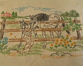 Embroidered Horse and Dog Picture