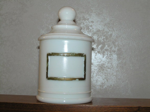Vintage Apothecary Jar by J.V. Co. INC. White Milk Glass