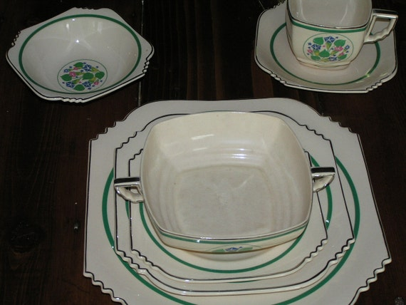 Reserved for SweetAnitaSparrow Vintage Leigh Ware by Leigh Potters Inc. USA GlenEden Pattern Green and Ivory