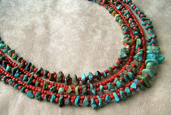 Turquoise, Red Coral Glass Necklace, Southern Stones- Gemstone, silver, multistrand
