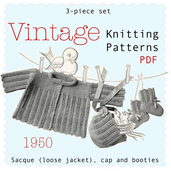 3 Vintage Knitting Patterns Baby Set with Sacque loose