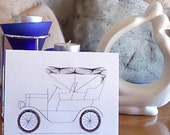 Greeting Card - Antique Covered Car ... Hand Embroidered