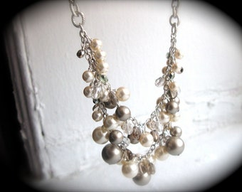 Bridal Necklace - Ivory and Champagne Pearl