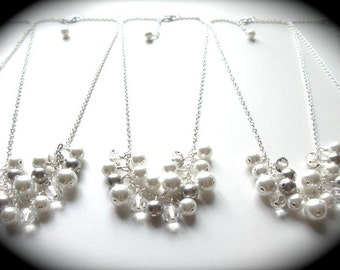 White and Silver Bridesmaid Necklaces