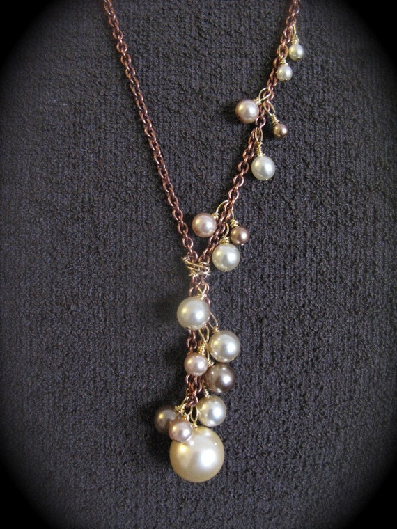 Copper and Pearl Cascade Necklace
