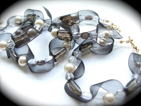 ON SALE - Black Ribbon and Smoky Quartz Set of Four Bridesmaid Bracelets