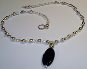 Darling Antique Silver Necklace with Black Onyx Pendant