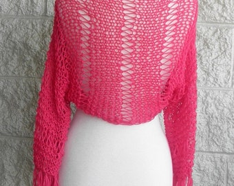 Pink  Shrug Womens   Bolero ,  Loose  Knit Shrug , Long Sleeve Shrug , Ethereal Shrug, Light Shrug, Fringe, Womens Fashion Shrug