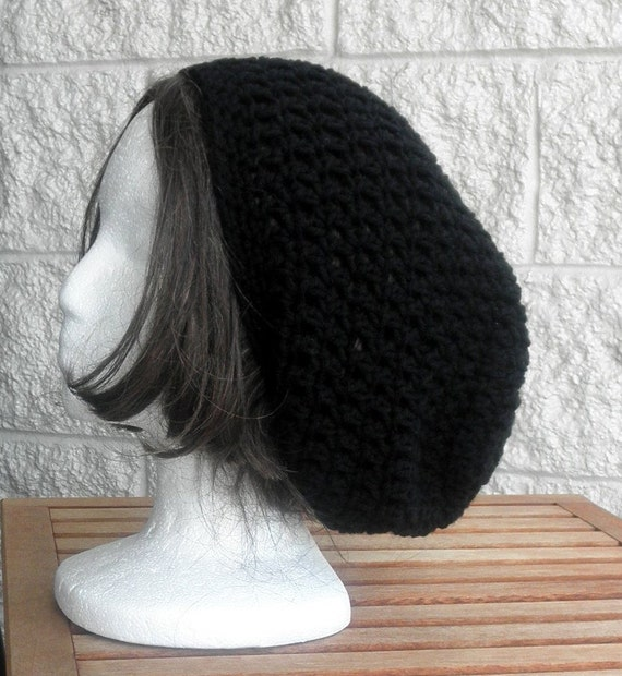 Black Slouch Crochet Hat , Rustic with Removable Flower Brooch