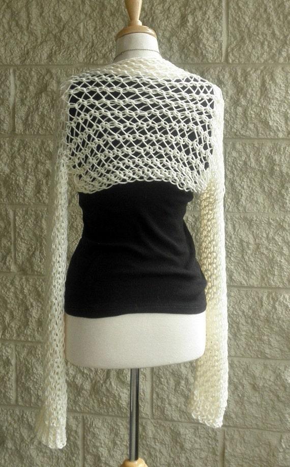 White Shrug Open Knit Long Sleeve , Summer Fashion , Weddings