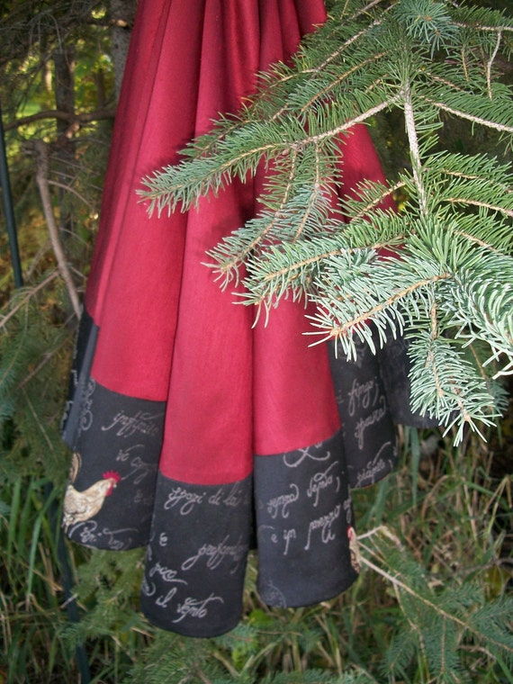 Wine Satin and Black French Fabric Stunning Christmas Tree Skirt 2011 Collection